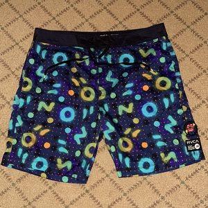 RVCA neon pattern board shorts NWOT 33